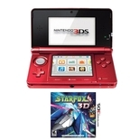 Nintendo 3DS Flame Red Gaming System Bundle with Star Fox 64